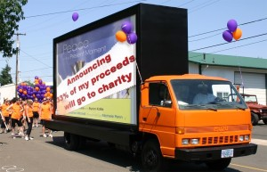 Peace-in-the-Present-Moment-to-charity-on-truck